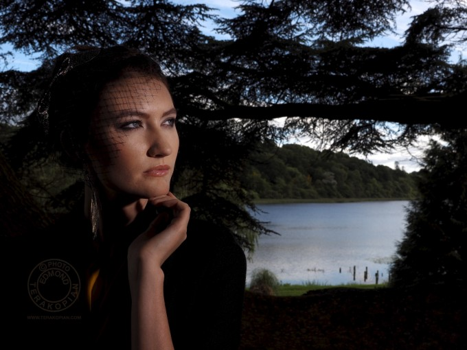 Portrait of a model and lake. Olympus OM-D EM-1 Test Shot using the new Olympus 12mm-40mm f2.8 lens.  Castle Leslie, Glaslough, Ireland. September 10, 2013. Photo: ©Edmond Terakopian    *jpeg image processed in Aperture*