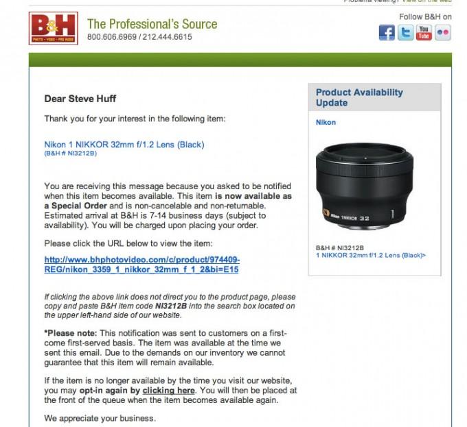 Nikon 32 1 2 1 series lens now Special Order Only? | Steve