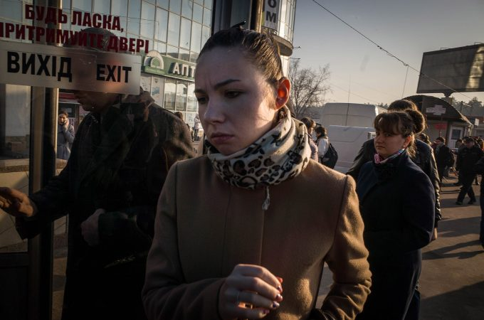 Kieve, Ukraine, March,11,2015. Vita diaria por las calles de Kiev.