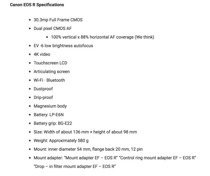 Canon EOS R Leaked, new Lenses, Specs… | Steve Huff Photo
